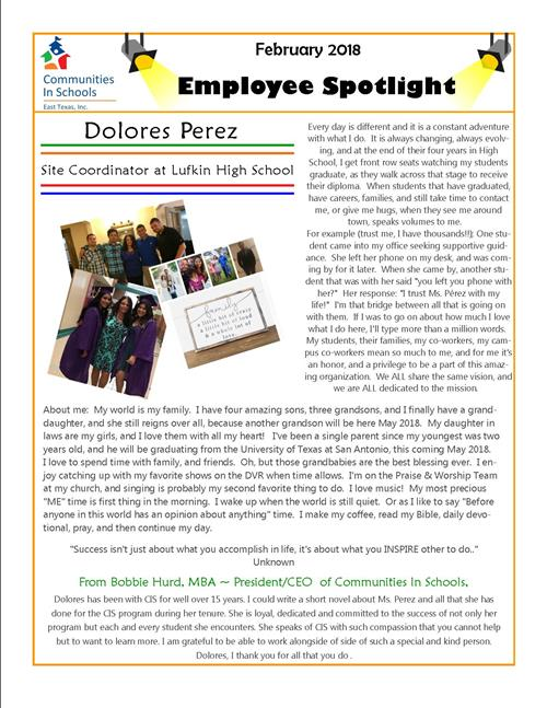 Employee Spotlight February 2018 Edition