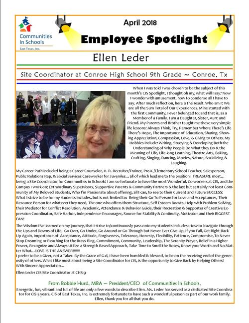 Employee Spotlight April 2018 Edition