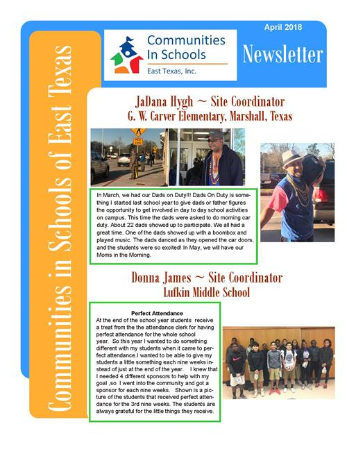 CLICK HERE! for the entire April 2018 Newsletter- East Texas