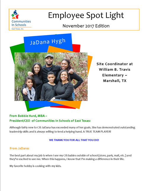 Employee Spotlight November 2017 Edition