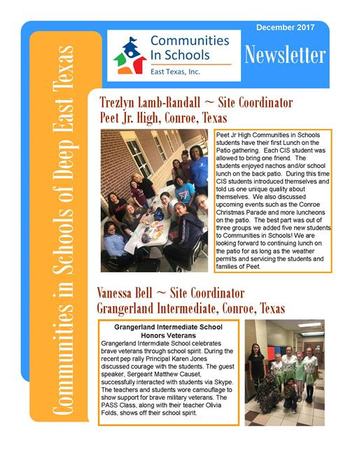CLICK HERE! for the entire December 2017 Newsletter Deep East Texas